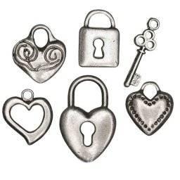 Metalen hanger hart+slot 499-48 | Rayher