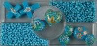 Glaskralen handpaint blauw 1062