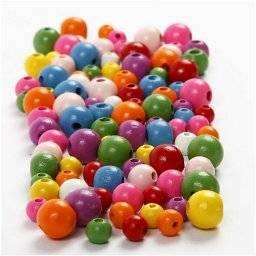 Houten kralen gekleurd 68481