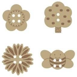 Houten knopen 14001711 bloemen | Artemio
