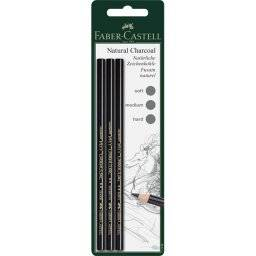 Natural charcoal potl 3st 117498   Faber castell