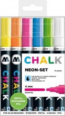 Chalkmarker 4mm round set neon | Molotow