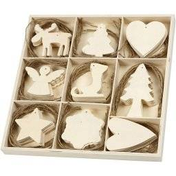 Kerstornamenten hout 72 stuks