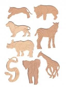 Set 8 mdf figuren wilde dieren | Pronty